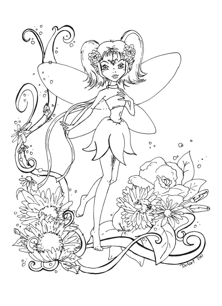 Flowers fairy lineart by jadedragonne on deviantart for Flower fairy coloring pages
