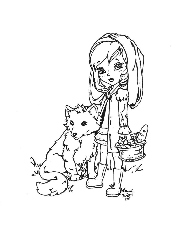 Little red ridding hood by jadedragonne on deviantart for Red riding hood coloring pages