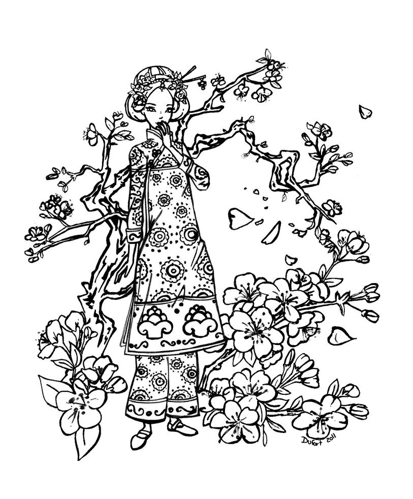 Cherry blossom by jadedragonne on deviantart for Cherry blossom coloring pages