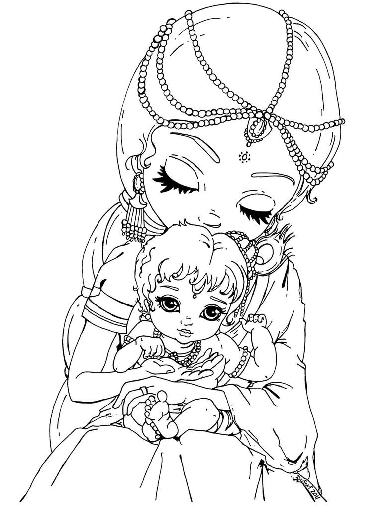 Line Art Krishna : Baby krishna by jadedragonne on deviantart