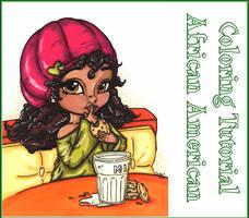 African American Girl coloring demo by JadeDragonne