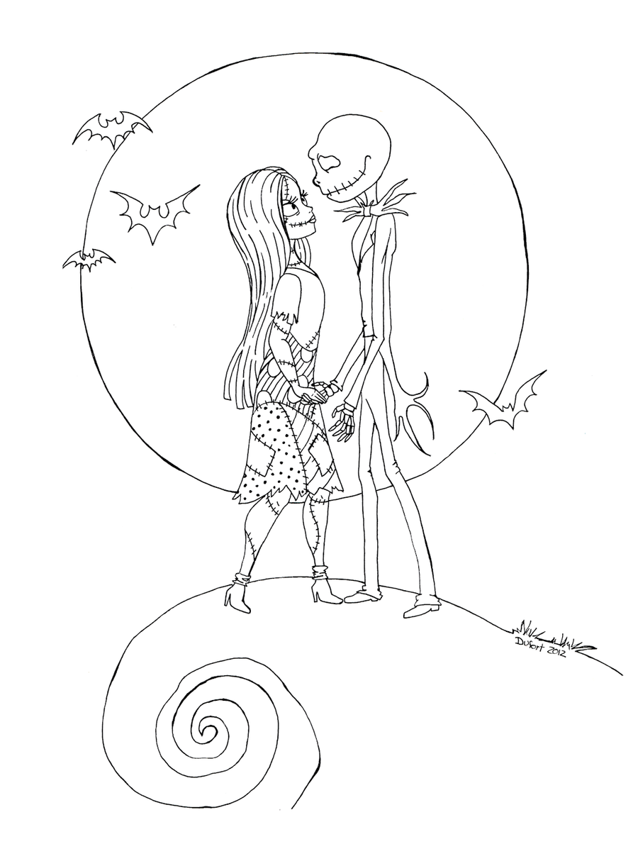 Jack 39 n sally by jadedragonne on deviantart for Jack and sally coloring pages