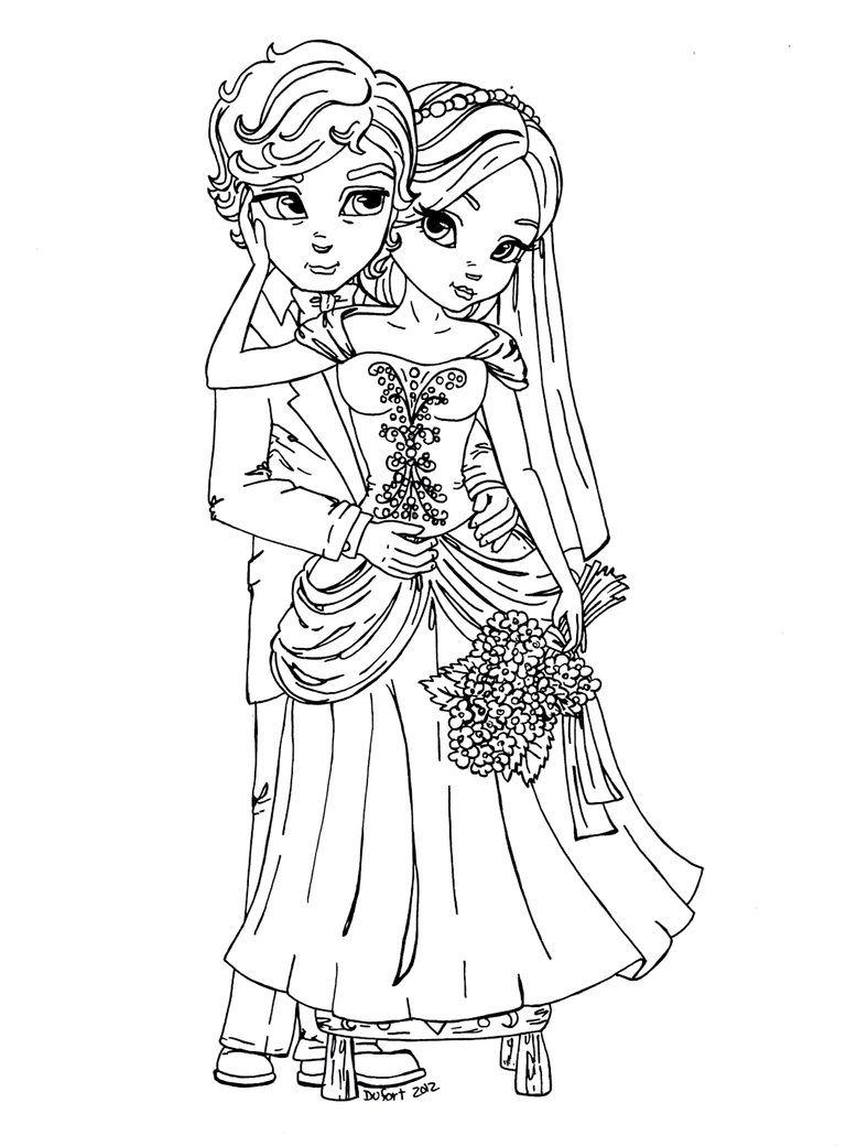 Bride 39 n groom by jadedragonne on deviantart for Groom coloring pages