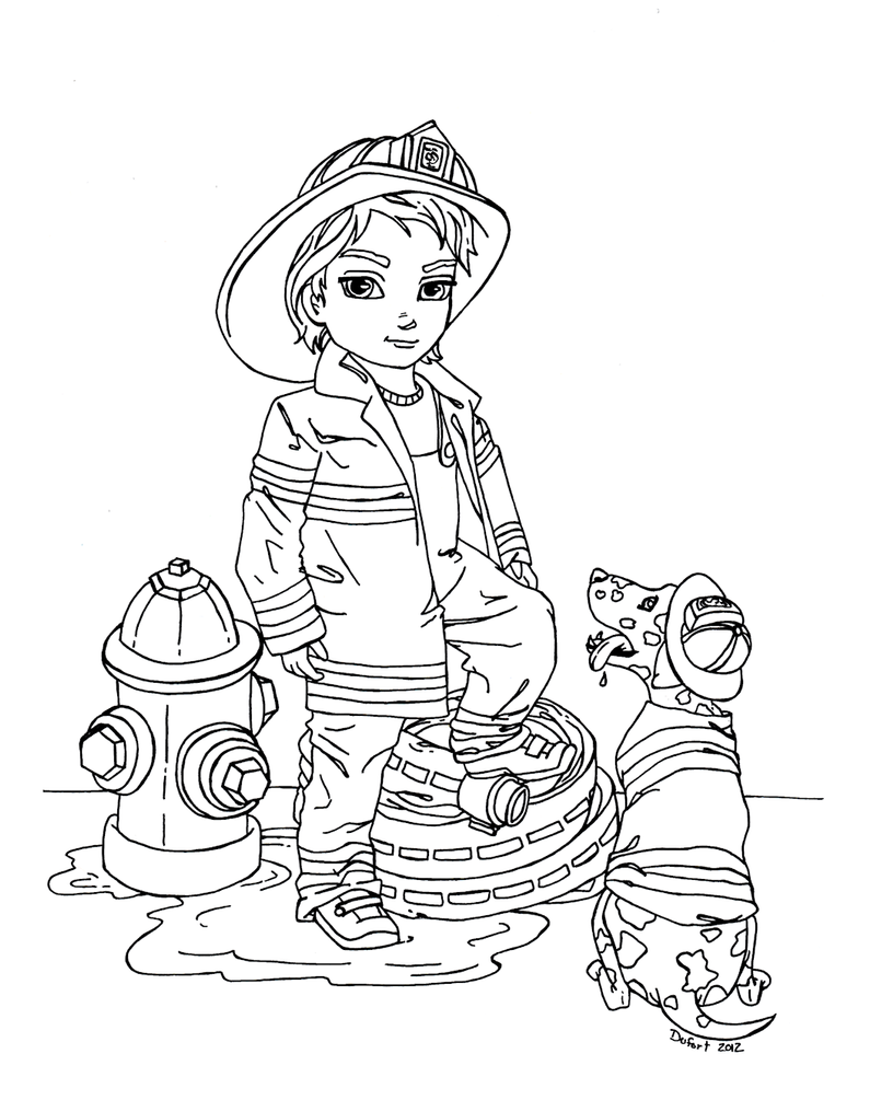 coloring pages of firemen - photo#34