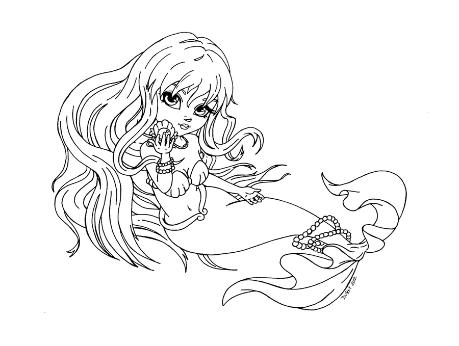 mermaid coloring pages for teens - rina from mermaid melody lineart by jadedragonne on