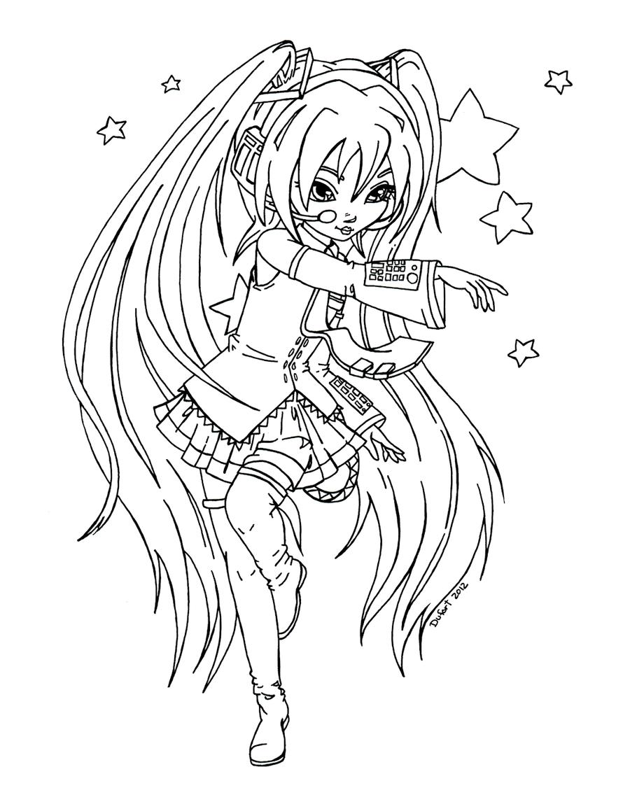 Miku from Vocaloid - Lineart by JadeDragonne on DeviantArt