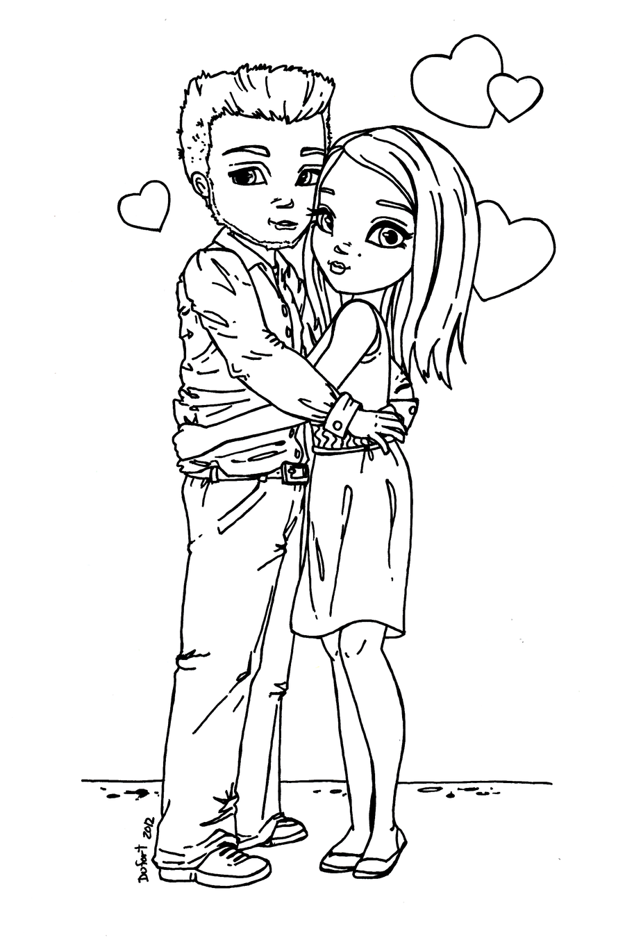 Young Couple lineart by JadeDragonne