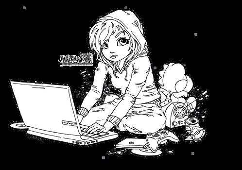 Cute Geek - Lineart