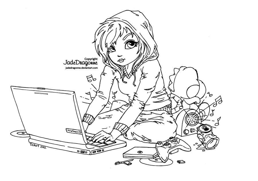 Cute geek lineart by jadedragonne on deviantart for Geek coloring pages