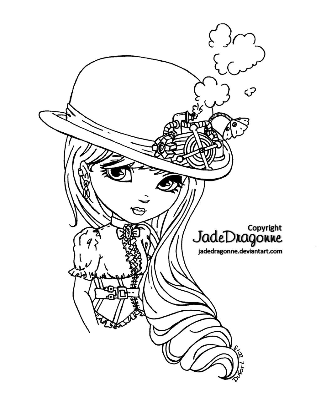 Line Drawing Hat : Steampunk hat lineart by jadedragonne on deviantart