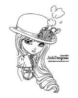 Steampunk hat - lineart by JadeDragonne