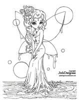 Water Fairy - Lineart by JadeDragonne