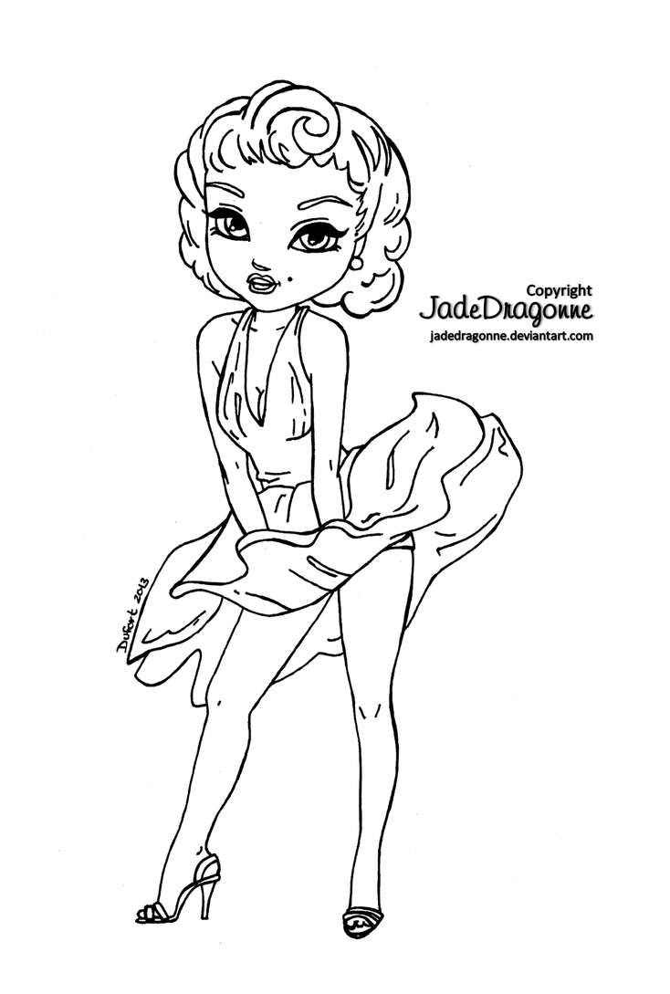 marilyn monroe coloring pages - marilyn monroe lineart by jadedragonne on deviantart