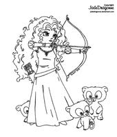 Merida from Brave - Lineart by JadeDragonne