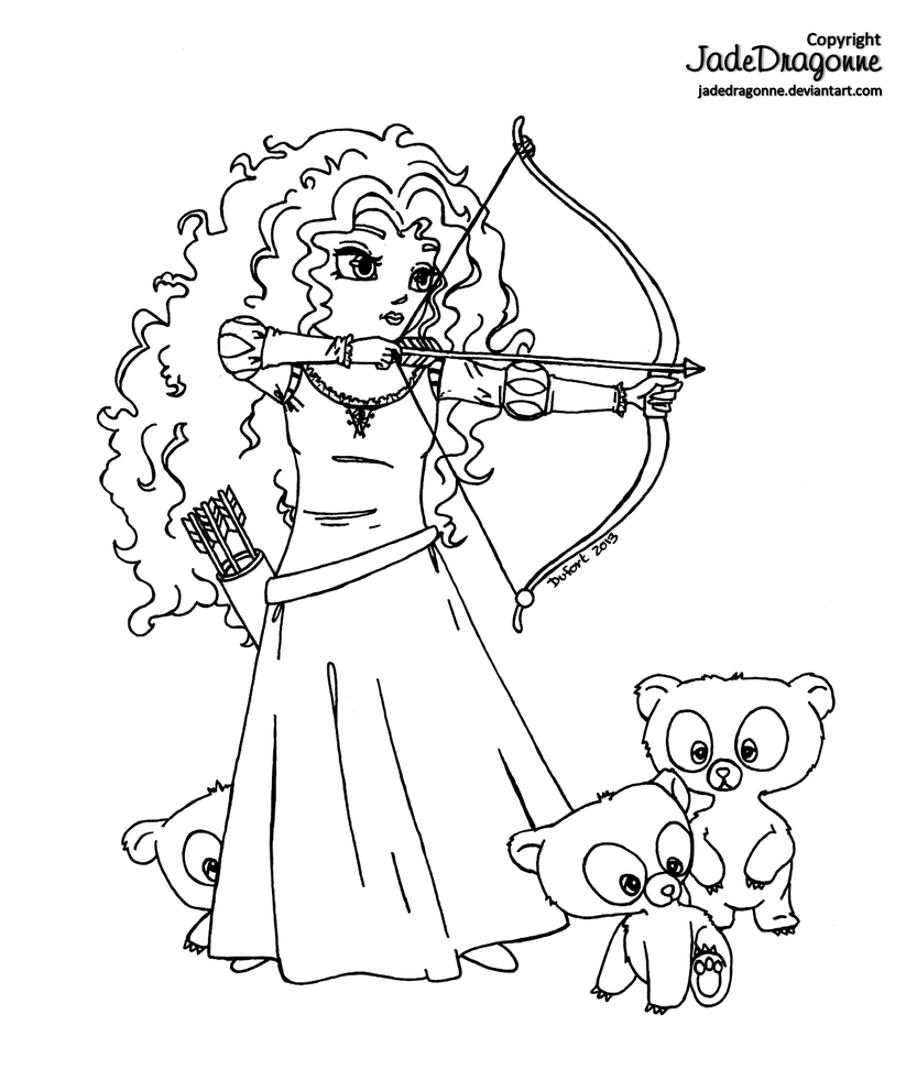 Merida from brave lineart by jadedragonne on deviantart for Merida coloring pages