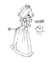 Princess Rosalina from Mario - Lineart by JadeDragonne