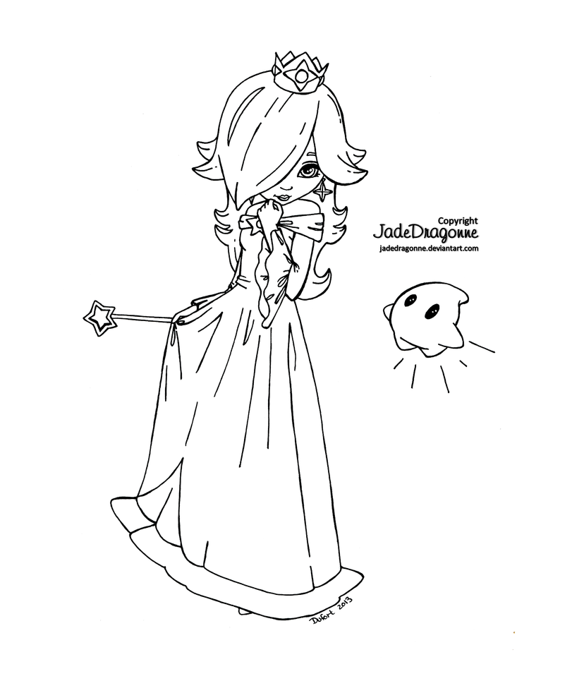 Princess Rosalina From Mario Lineart By Jadedragonne On Chibi Princess Rosalina Free Coloring Sheets