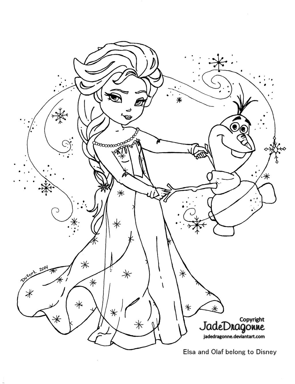 Elsa and olaf lineart by jadedragonne on deviantart - Coloriage frozen ...