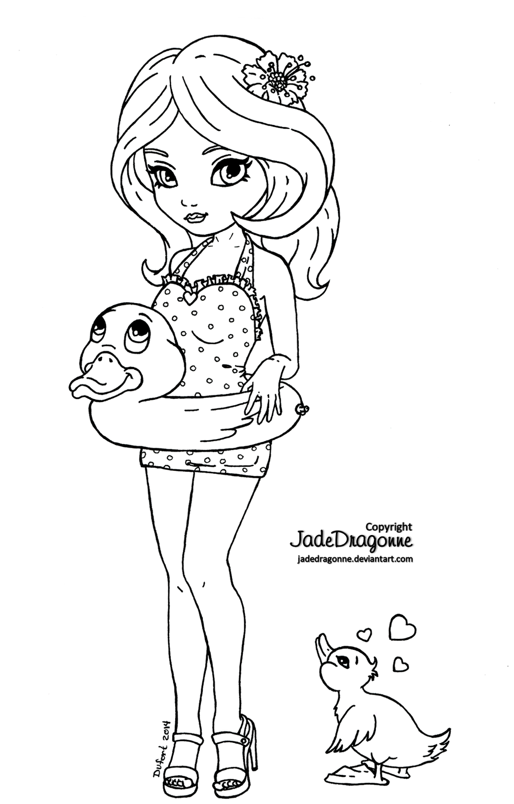 Rubber Duck Pin-up - Lineart by JadeDragonne