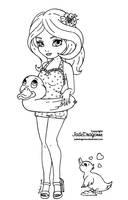 Rubber Duck Pin-up - Lineart by JadeDragonne