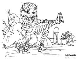 Ice Skating - Lineart by JadeDragonne