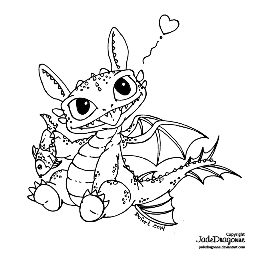 Baby toothless by jadedragonne on deviantart for Baby dragon coloring pages