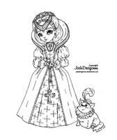 Elisabethan Princess - Lineart by JadeDragonne