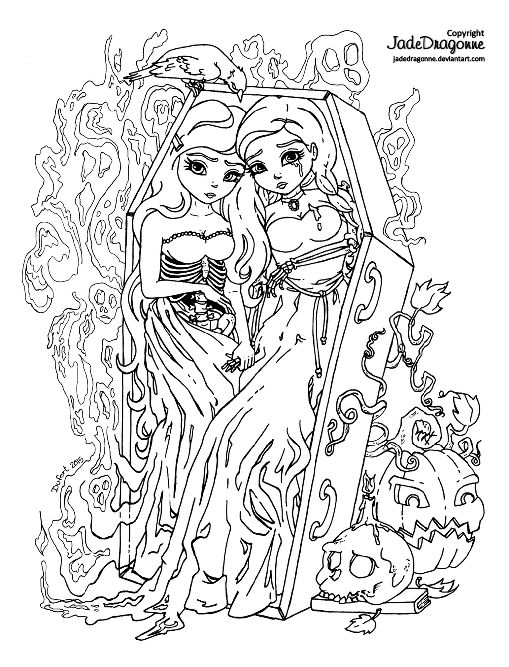 Coloring pages for halloween coloring contest -  The Twins 2015 Halloween Coloring Contest By Jadedragonne