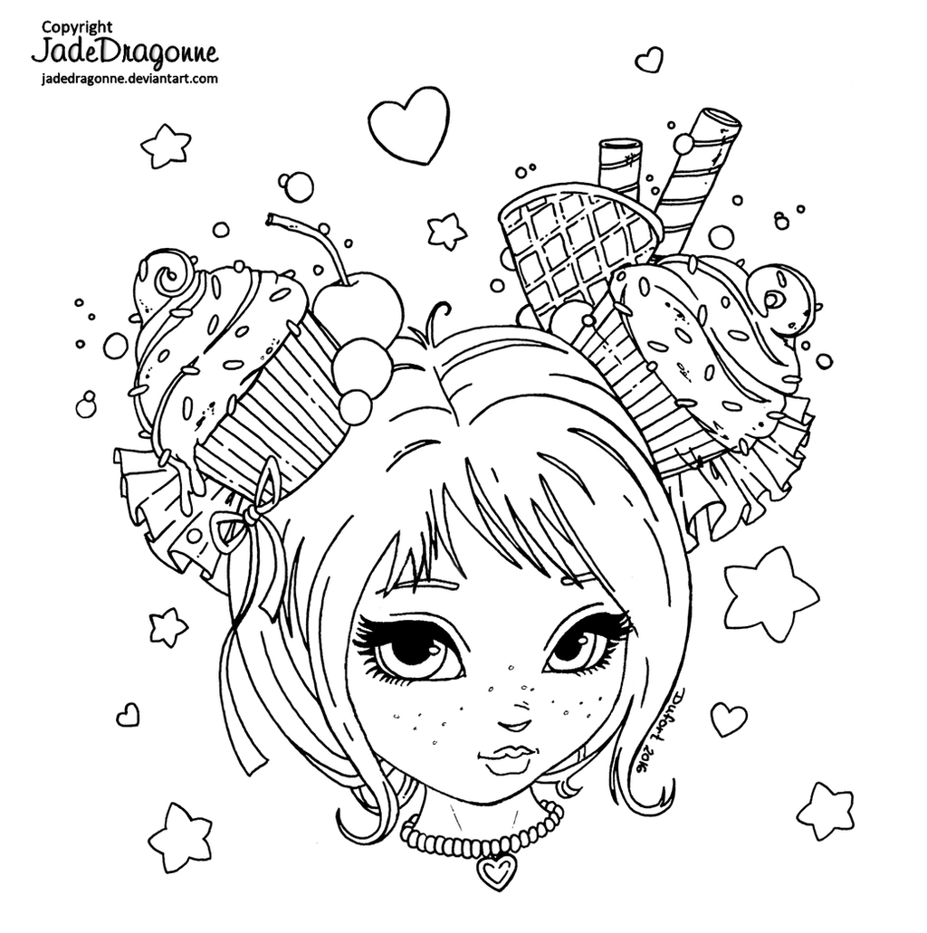 Line Art Coloring Pages : Cupcake sweetheart lineart by jadedragonne on deviantart