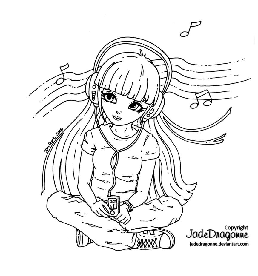 Earphones - Lineart by JadeDragonne