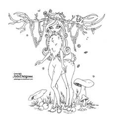 Woodland creature - Lineart by JadeDragonne