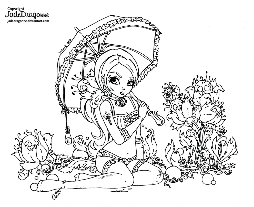 Vintage gothic pinup Lineart