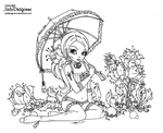 Vintage gothic pinup - Lineart