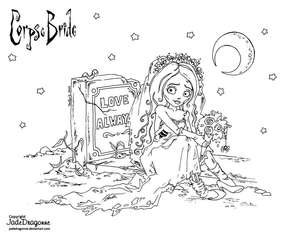 Uncategorized Corpse Bride Coloring Pages emily the corpse bride lineart by jadedragonne on deviantart jadedragonne