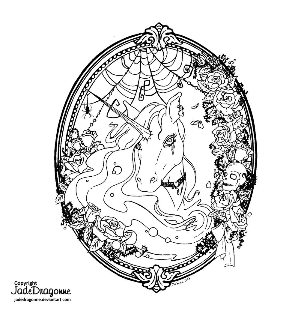 Gothic Unicorn - Lineart by JadeDragonne