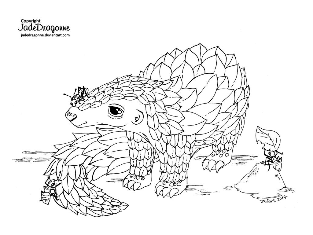 Pangolin - Lineart by JadeDragonne