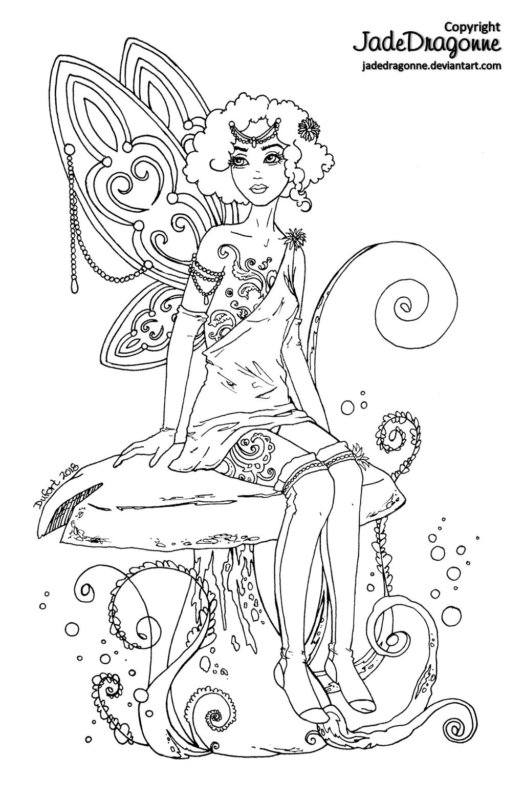 Fairy - Lineart by JadeDragonne