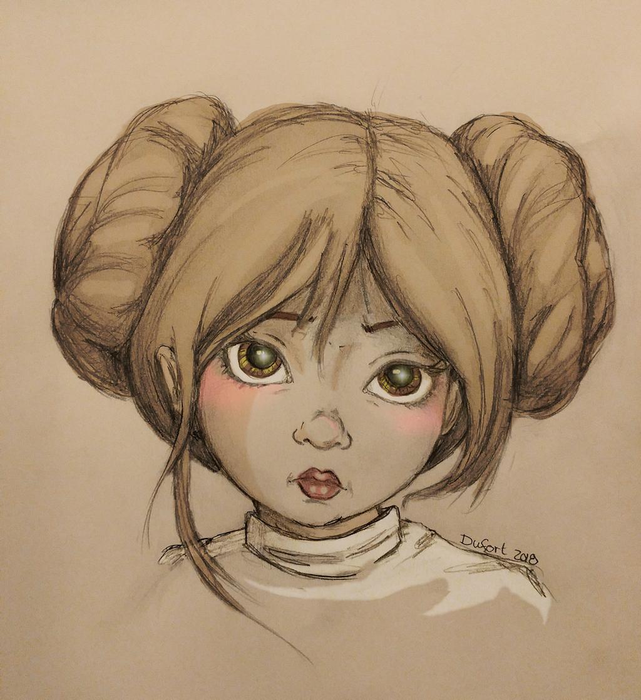 Young Leia Organa by JadeDragonne