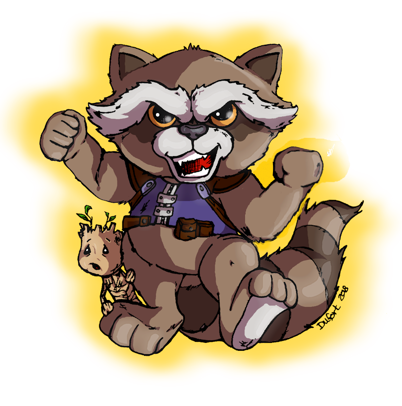 Rocket Racoon and baby Groot by JadeDragonne