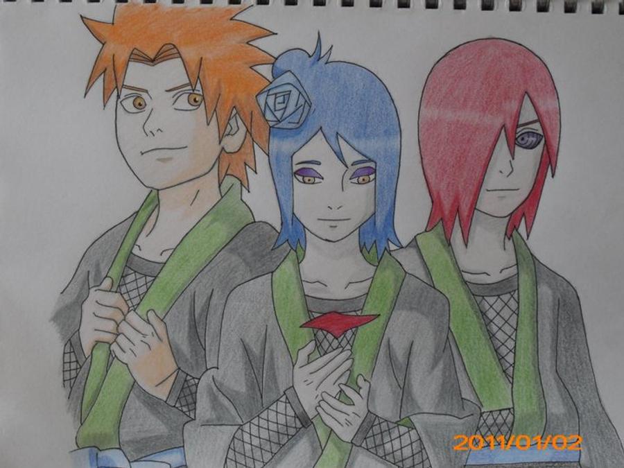 Yahiko, Konan, and Nagato by GodRealm67
