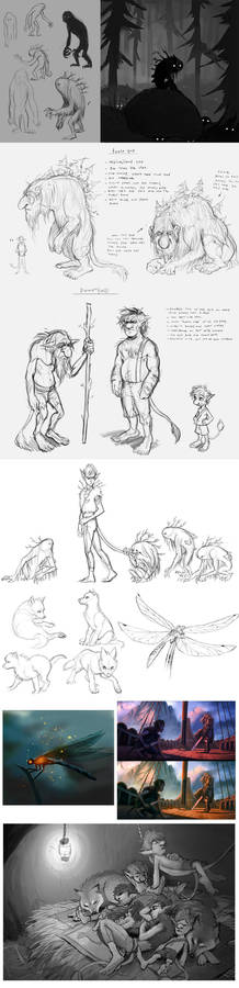 peter pan concept sketches 4: TROLLS etch