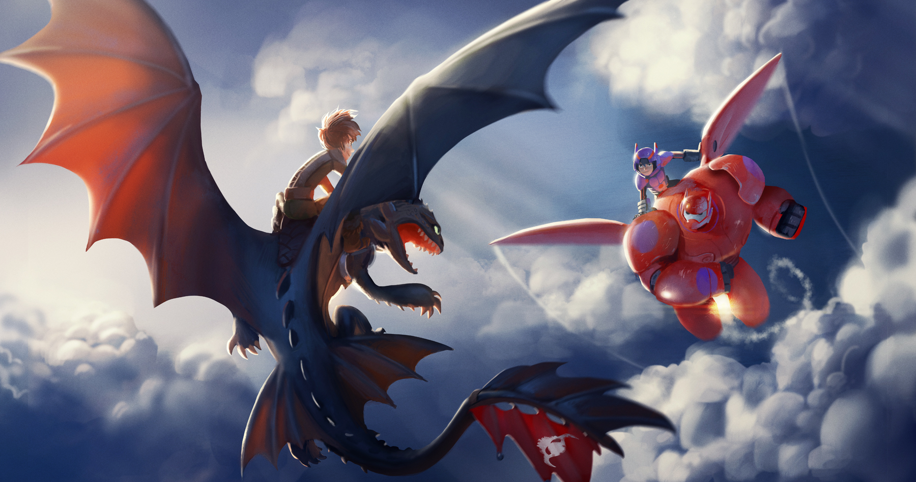 Hiccup and Toothless VS. Hiro and Baymax