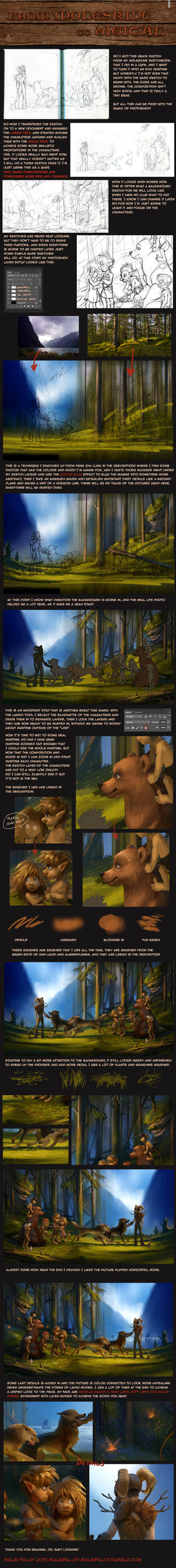 step by step digital painting tutorial by Detkef