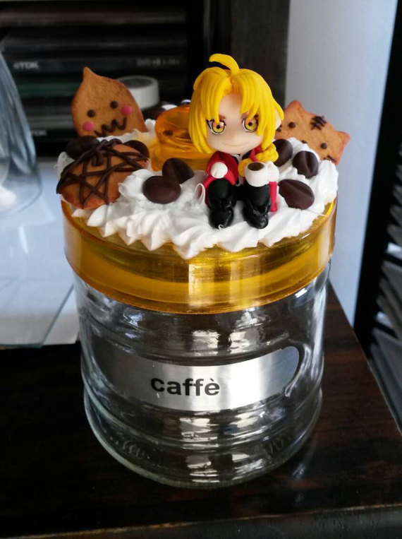 Fullmetal Alchemist handmade decoden coffee jar by SimonaZ