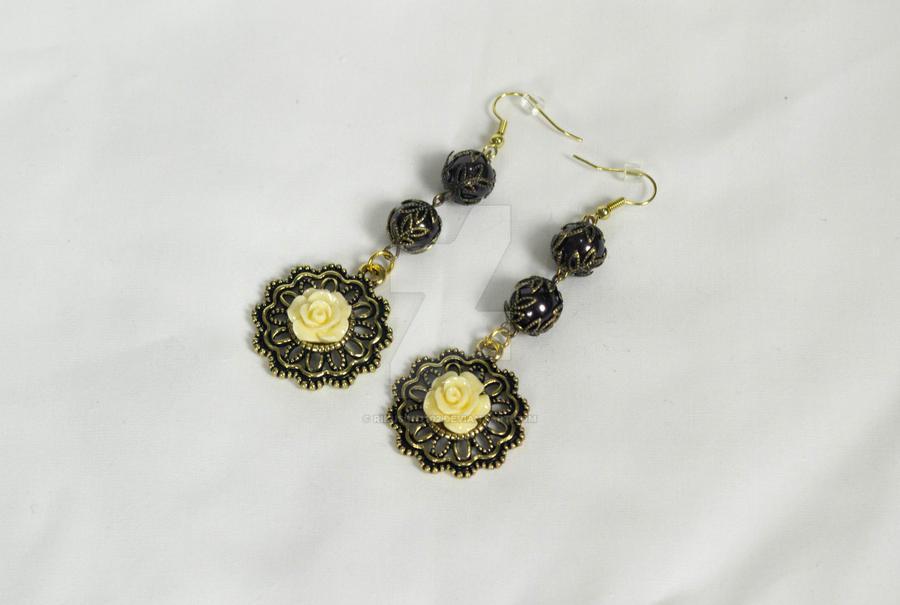 Yellow Flower Earrings by rikuson2102