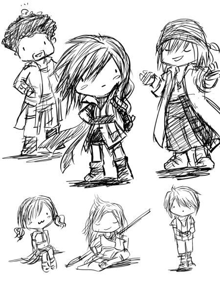 Final Fantasy 13 sketches by kicky