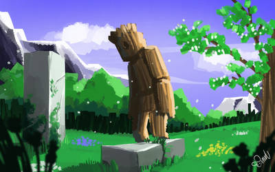 Wooden Man outside forest