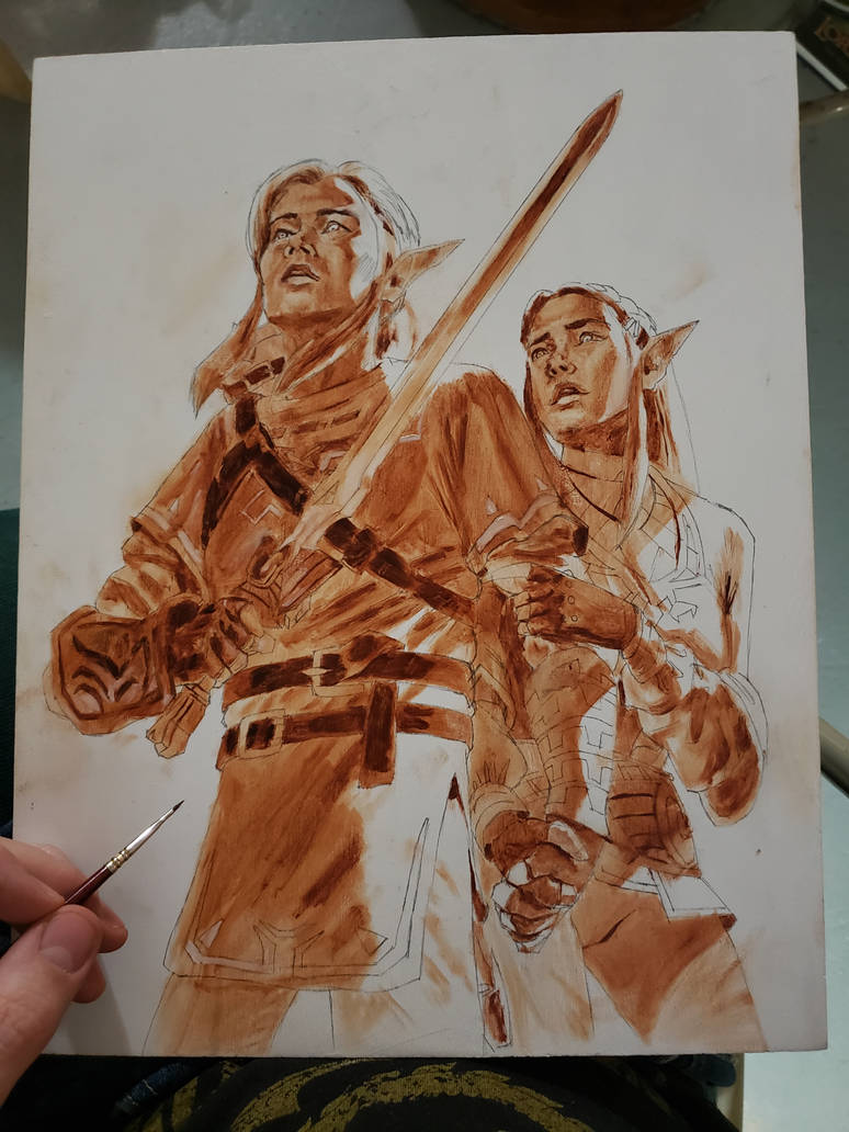 Link and Zelda  Underpainting by MaximeChiasson