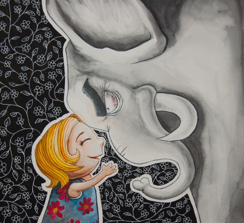 She and her friend the Elephant by massamitsu