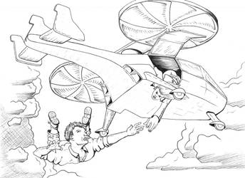 Gyrocopter Dive - Inked by Gabe-Kai
